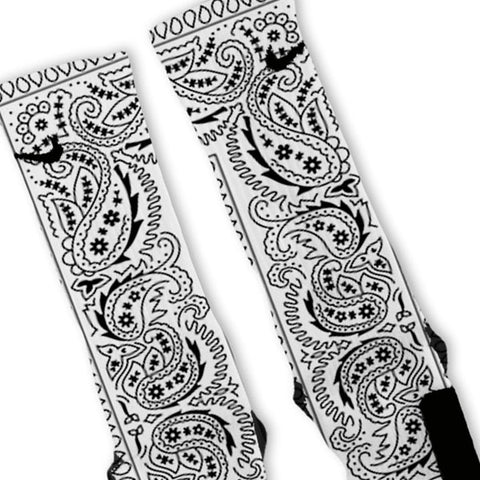 White Bandana Paisley Custom Nike Elite Socks