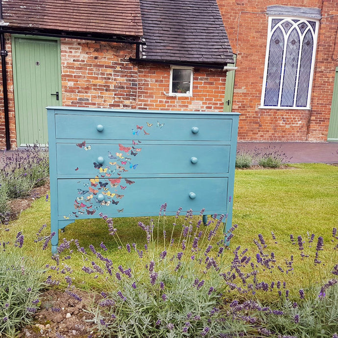 Painted Oak Chest of Drawers - Butterfly details