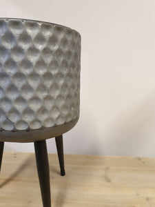 Hammered Galvanised Metal Pot Cover With legs