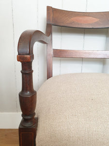 Restored & Re-upholstered Sprung Mahogany Arm Chair