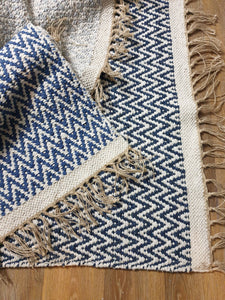 Recycled Handwoven Cotton Rugs - Blue