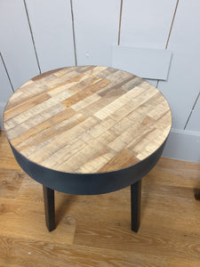 Wood Block Side Table