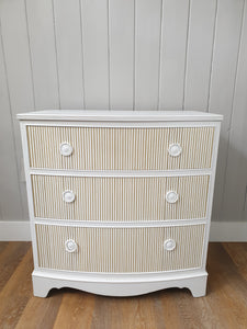 Hand Painted Mahogany Bow Fronted Chest Of Drawers