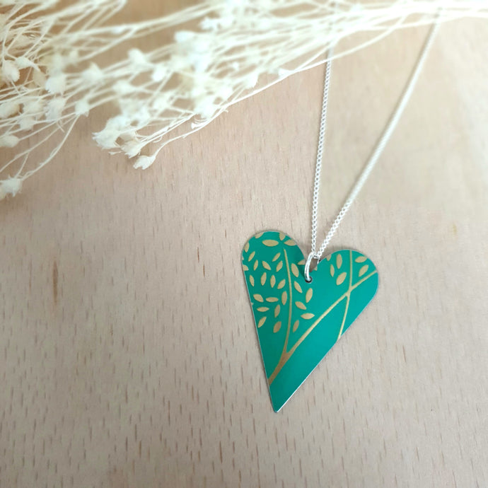 Jade & Gold Leaves Heart Necklace
