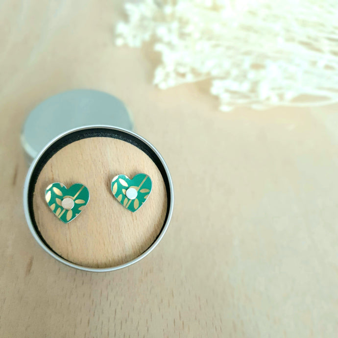 Jade & Gold Leaves Heart Stud Earrings