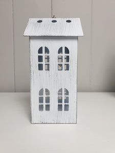 White Metal Town House Tealight Holder