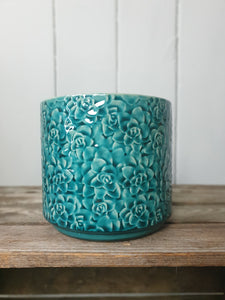 Turquoise Flower Pattern Plant Pot  - 2 Sizes