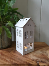 Load image into Gallery viewer, White Metal Town House Tealight Holder