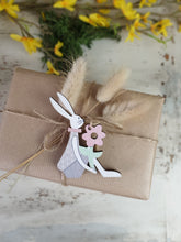Load image into Gallery viewer, Wooden Easter Bunny Hanging Decoration - Set of 3