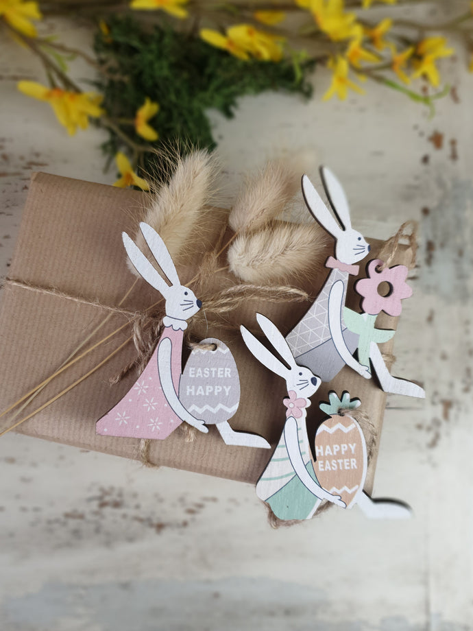 Wooden Easter Bunny Hanging Decoration - Set of 3