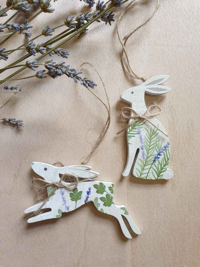 Lavender & Herbs Hare Hanging Decoration - Set of 2