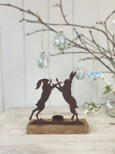 Boxing Hare's Tealight Holder