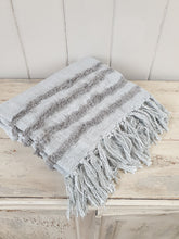 Load image into Gallery viewer, Grey Fringed Cotton Throw