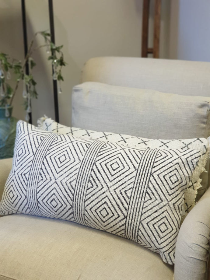 Block Printed Geometric Patterned Cushion