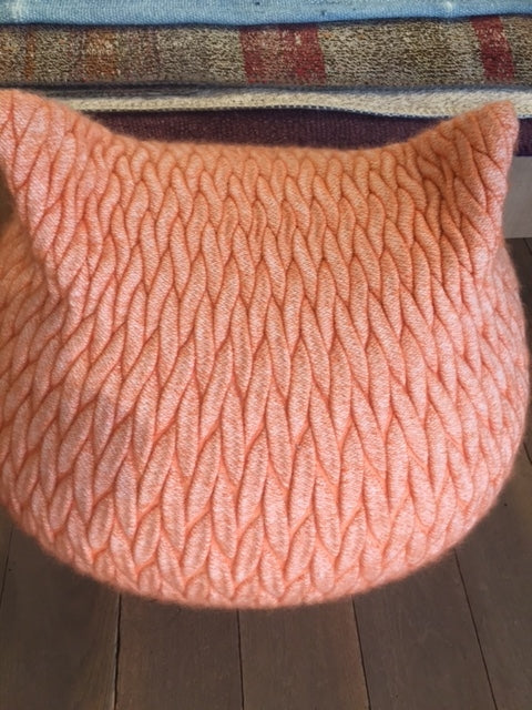 Peach Kitten Pouffe-Accessories-Topfloor By Esti-LOT.co.uk