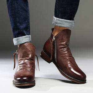 Men's Leather Tassel Zip Boots