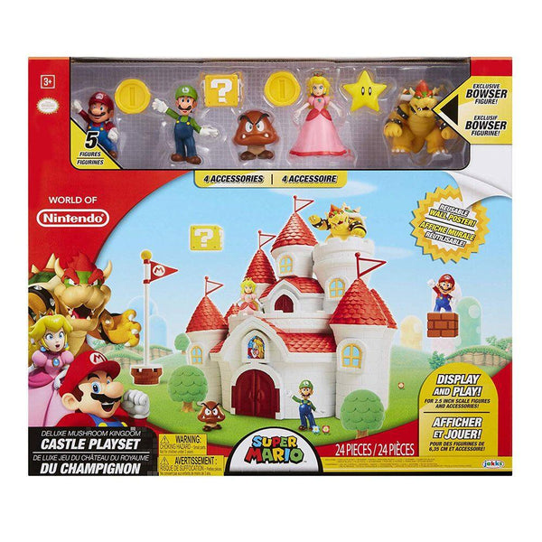 Castle Super Mario Playset Deluxe World of Nintendo DMushroom Kingdom Castle 5 personages