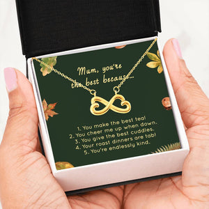 Birthday Gifts For Mom Infinity Hearts Necklaces Birthday Mothers Day Gifts 14k White Gold 18k Yellow Gold - HihiMom