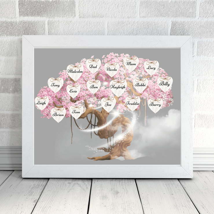 Blossom Tree Personalised Family Print Cherry Blossom Family Tree Print A4 with white frame L-MATTE-AP-A5