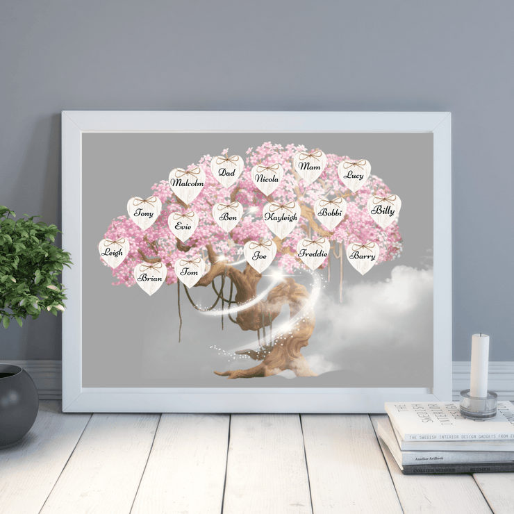 Blossom Tree Personalised Family Print Cherry Blossom Family Tree Print