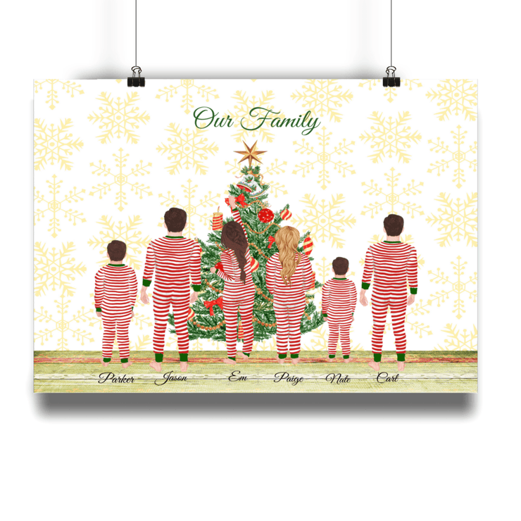 Personalised Christmas Tree Family Print Christmas family personalised print A4