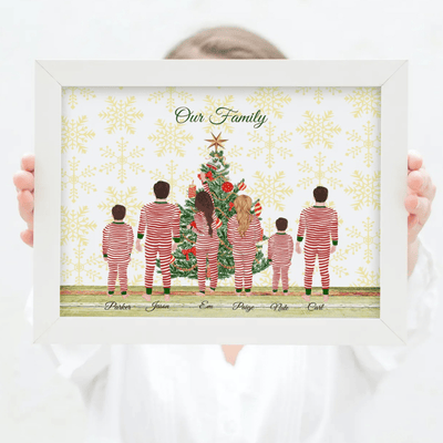 Personalised Christmas Tree Family Print - Personalise Gifts UK