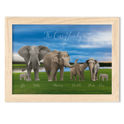 FRAMED Elephant Family Portrait - A4 Fine Art Print - Landscape/Oak Elephant Family Framed A4 Fine Art Print - Landscape/Oak