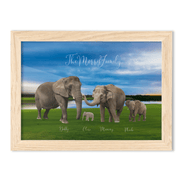 FRAMED Elephant Family Portrait - A4 Fine Art Print - Landscape/Oak - Personalise Gift Shop UK