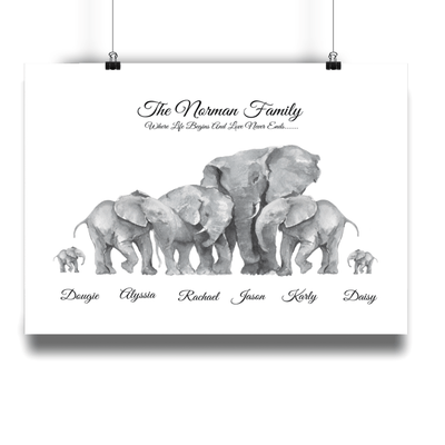 African Elephant Personalised Family Print - Personalise Gift Shop UK