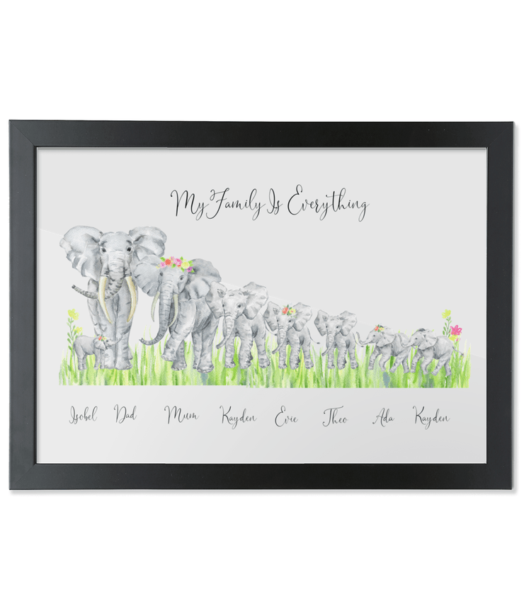 African Elephant Family Portrait - Flowers & Grass Elephant Family Portrait Print - Flowers Grass A3 with black frame SKU-BLACK-3