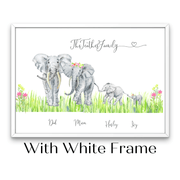 African Elephant Family Portrait - Flowers & Grass. - Personalise Gift Shop UK