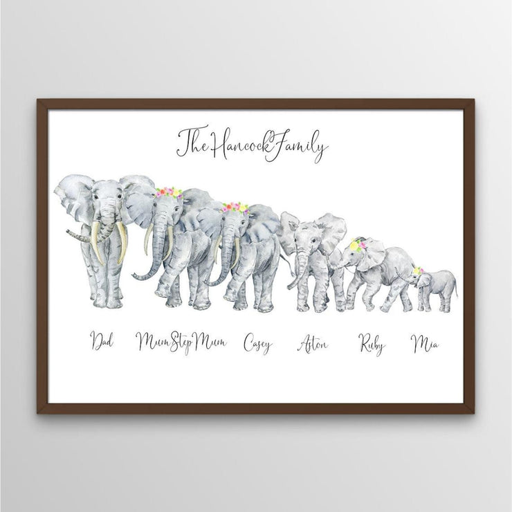 Watercolour African Elephant Family Portrait - Personalise Gift Shop UK
