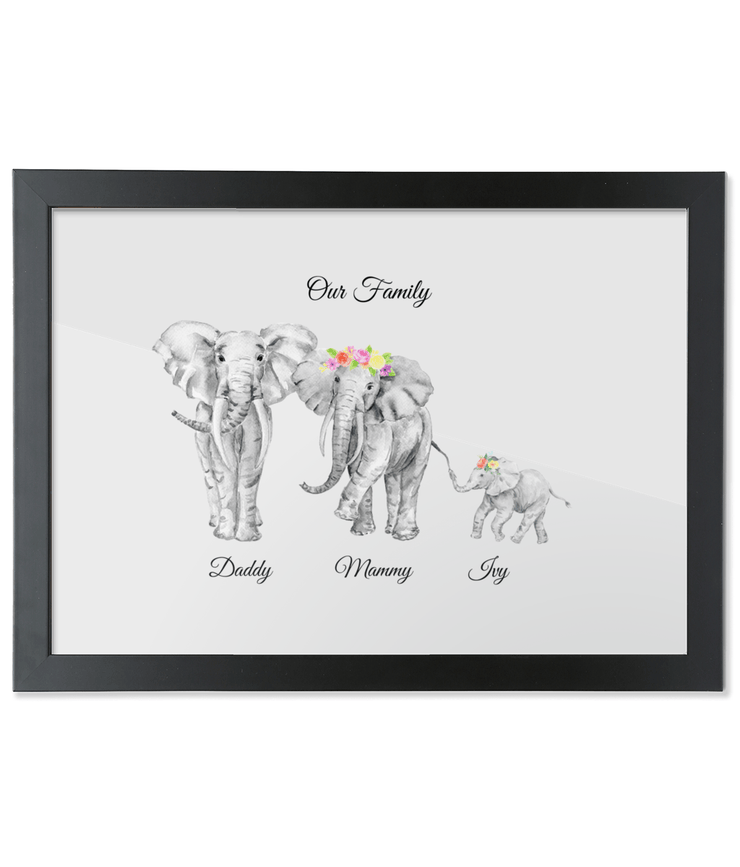 Watercolour African Elephant Family Portrait Elephant Family Portrait Prints