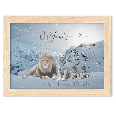 Framed Lion Family Portrait  A4 Fine Art Print - Landscape/Oak - Personalise Gift Shop UK