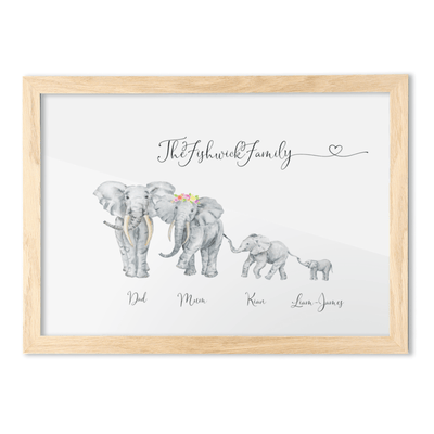 FRAMED Elephant Family Portrait - A3 Landscape/Oak Frame - Personalise Gift Shop UK