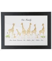 Personalised Family Giraffe Portrait Print Giraffe Print With Flowers In Hair A4 A4 with black frame A4-black-1