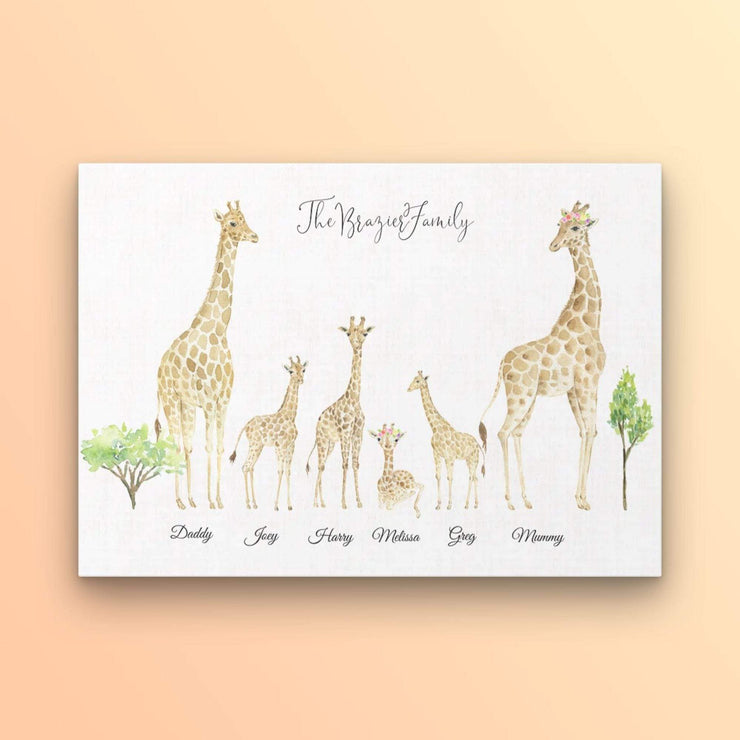Personalised Family Giraffe Portrait Print - Personalise Gift Shop UK