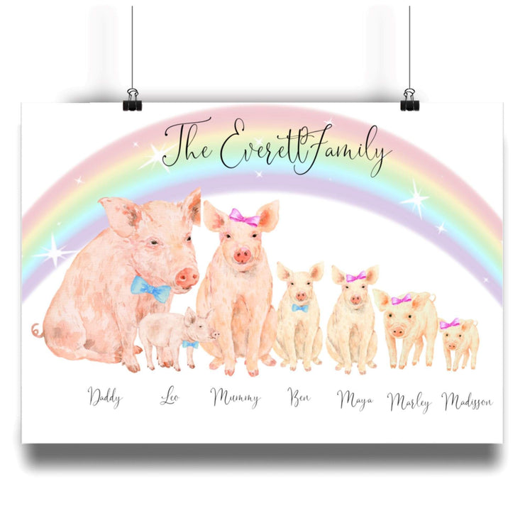 Personalized Pig Family Print Pig Family Personalized Print A3 L-MATTE-AP-A3