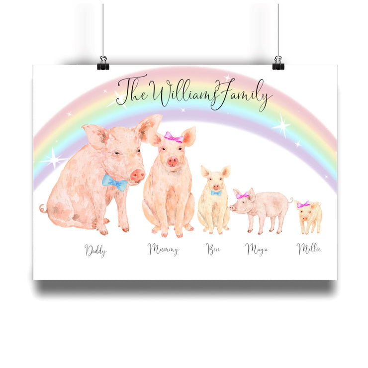 Personalized Pig Family Print Pig Family Personalized Print A4 L-MATTE-AP-A4