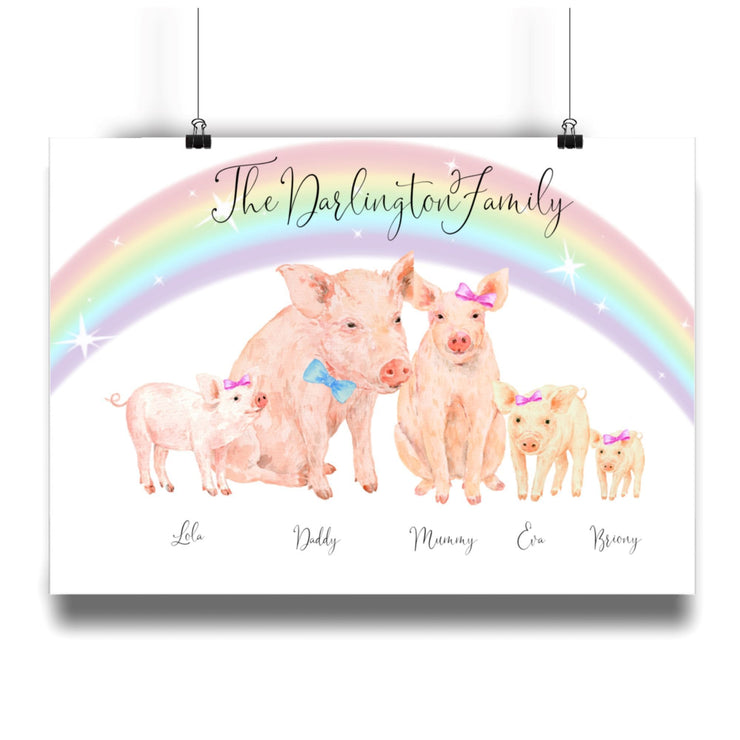 Personalized Pig Family Print Pig Family Personalized Print