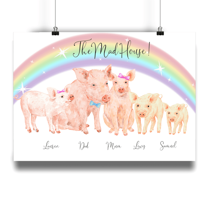 Personalized Pig Family Print - Personalise Gift Shop UK