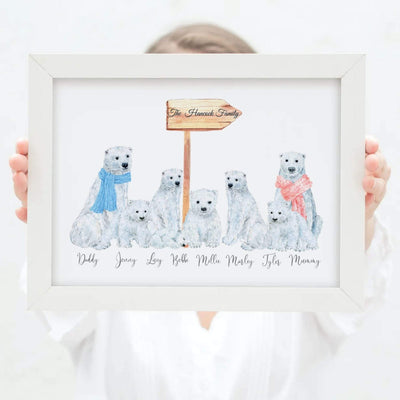 Polar Bear Watercolour Personalized Family Print - Personalise Gift Shop UK