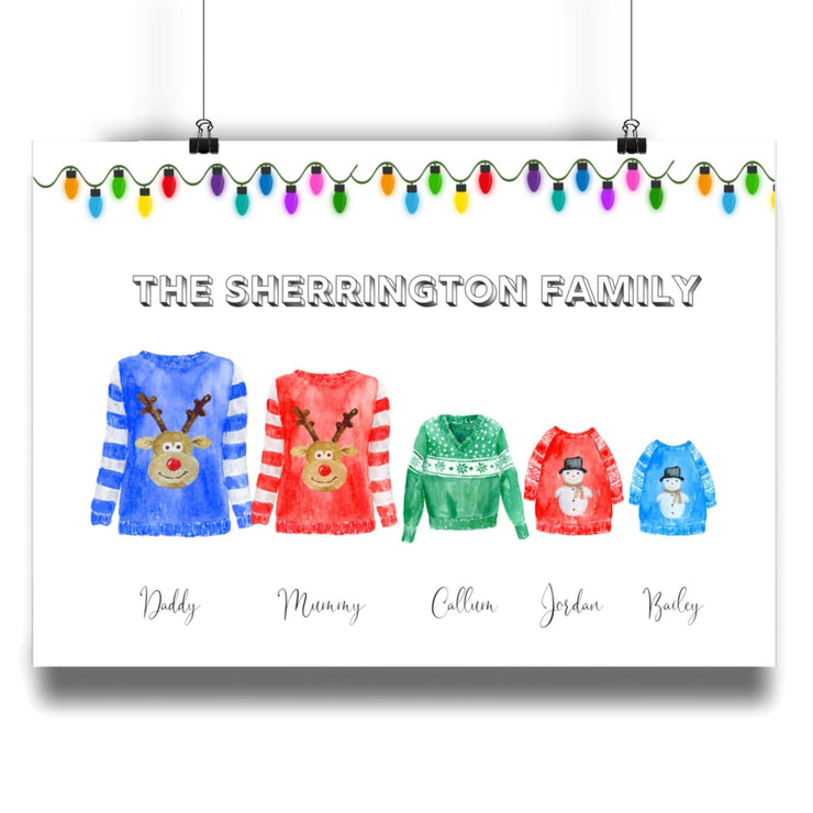 Christmas Ugly Jumper Family - Personalised Print - Personalise Gift Shop UK