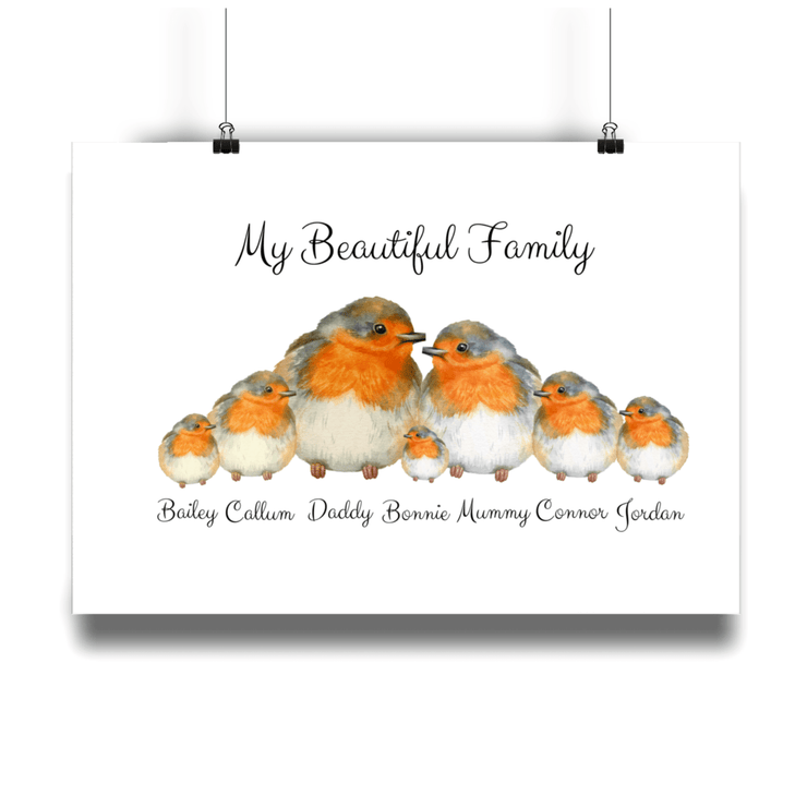 Robin Birds Personalized Family Portrait Print - Personalise Gift Shop UK