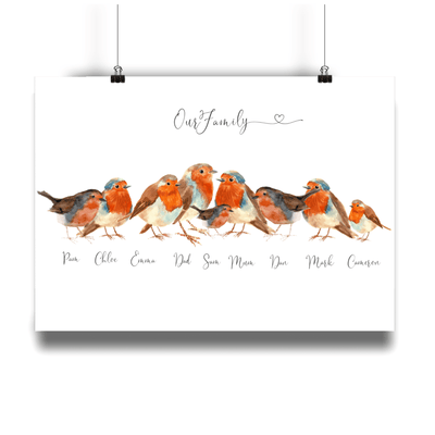 Robin Bird Personalized Family Portrait - Personalise Gift Shop UK