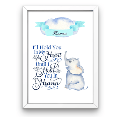 Baby Boy Personalized Memorial Print Baby Boy Personalied Memorial Print A4 with white frame