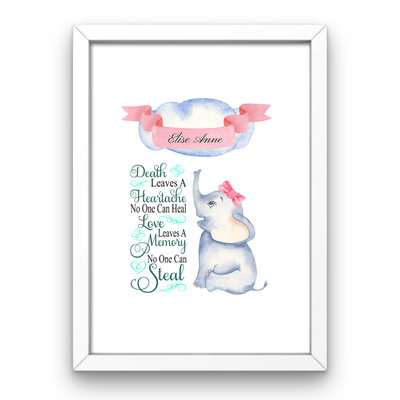 Baby Girl Personalised Memorial Print Baby Personalied Memorial Print A4 with white frame