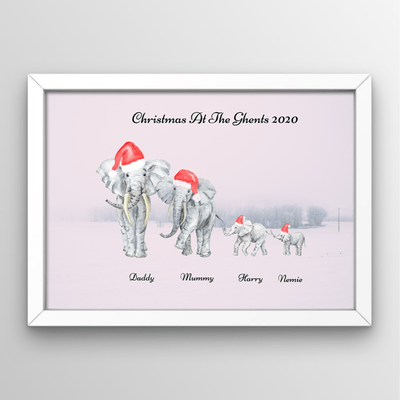Christmas Elephant Family Print - No Frame - Personalise Gift Shop UK