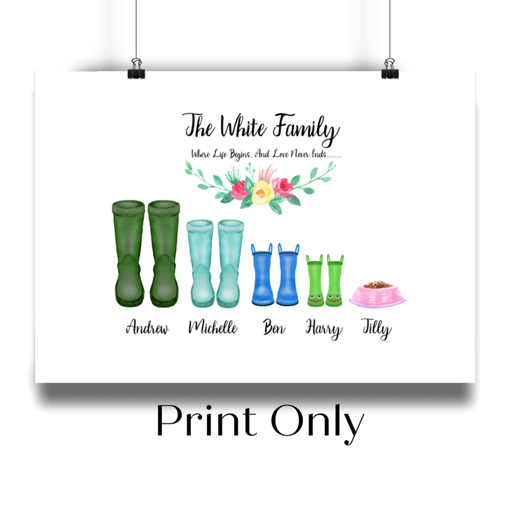 Wellington Boot Family Personalised Portrait - Personalise Gift Shop UK
