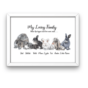 Bunny Rabbit Personalized Family Print Portrait Rabbit Family Personalized Portrait